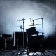 Set of Drums, Cymbals and Other Percussion Instruments. Black Smoky Background. Back Light. - VideoHive Item for Sale