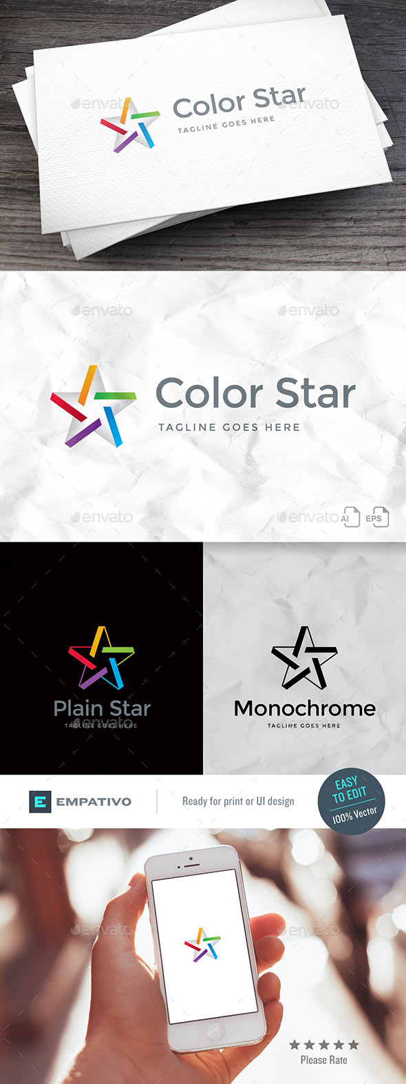 Color Star Logo Template - Symbols Logo Templates