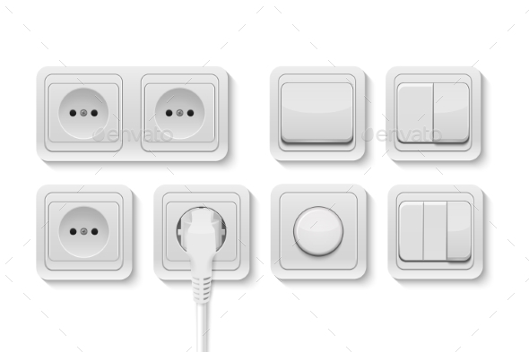 Vector Realistic White Switches and Socket Set - Objects Vectors