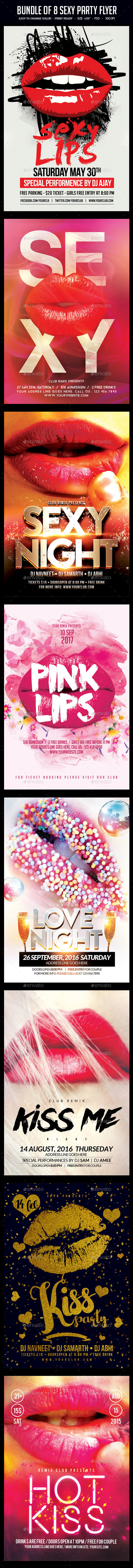 Bundle of 8 Sexy Party Flyers - Clubs & Parties Events