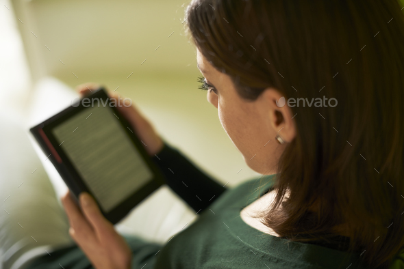 Girl Studying Literature With E-book At Home