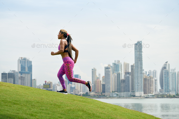 Woman Running And Working Out At Morning In The City - Stock Photo - Images