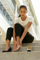 Business Woman Walking On High Heels Feeling Pain At Feet