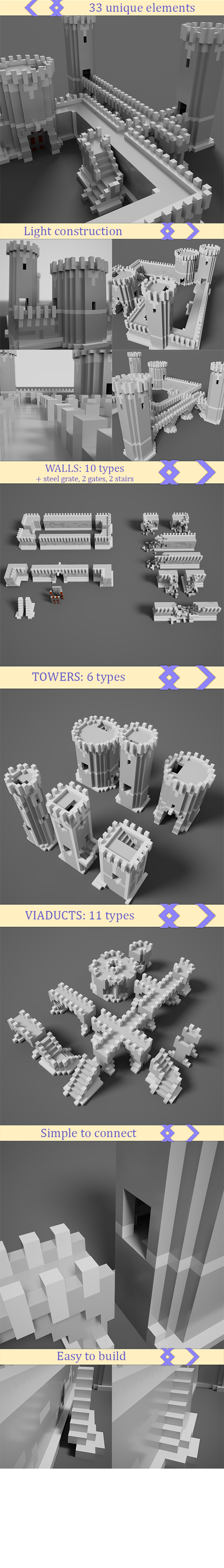 Medieval voxel castle maker Pack - 3DOcean Item for Sale