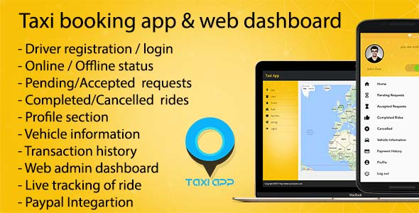 Taxi booking iOS app & web dashboard, complete solution - CodeCanyon Item for Sale