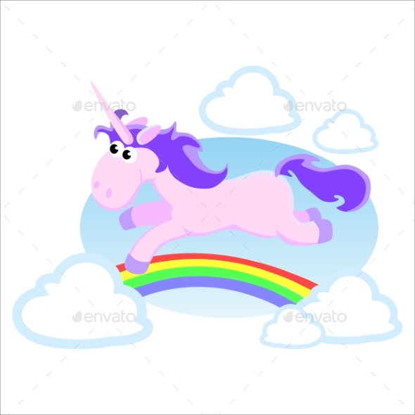 GraphicRiver Unicorn Isolated Set Magic Pegasus Flying 20455157