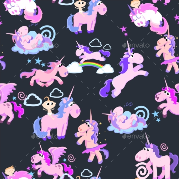 GraphicRiver Unicorn Seamless Pattern Magic Pegasus 20455182