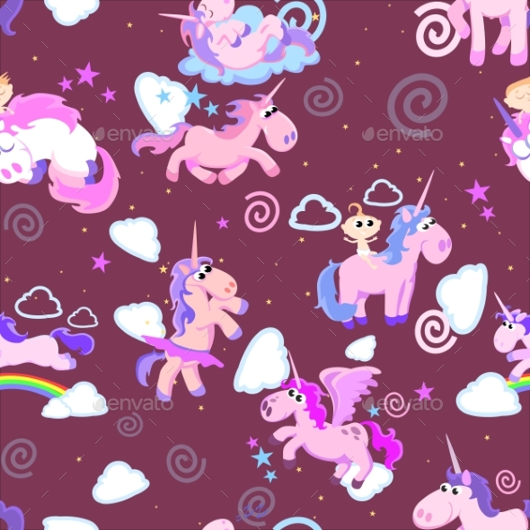 GraphicRiver Unicorn Seamless Pattern Magic Pegasus 20455184