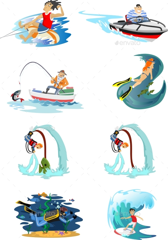 Set of Water Extreme Sports Icons, Isolated Design - Miscellaneous Vectors