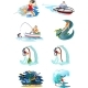 Set of Water Extreme Sports Icons, Isolated Design