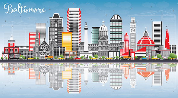 Baltimore Skyline with Gray Buildings, Blue Sky and Reflections. - Buildings Objects