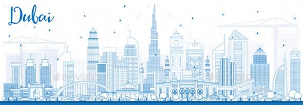 Outline Dubai UAE Skyline with Blue Buildings. - Buildings Objects