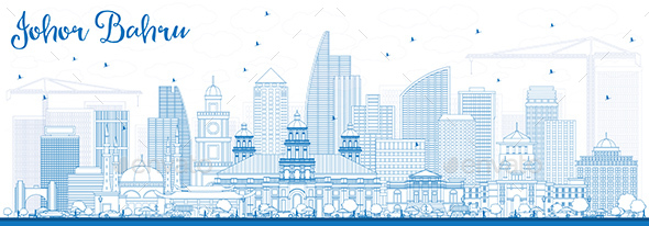 Outline Johor Bahru Malaysia Skyline with Blue Buildings. - Buildings Objects