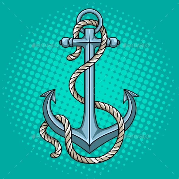 GraphicRiver Anchor with Rope Pop Art Style Vector Illustration 20455533