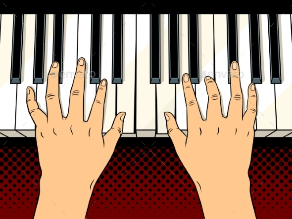 Hands on Piano Keys Pop Art Vector Illustration - Miscellaneous Vectors