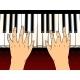 Hands on Piano Keys Pop Art Vector Illustration