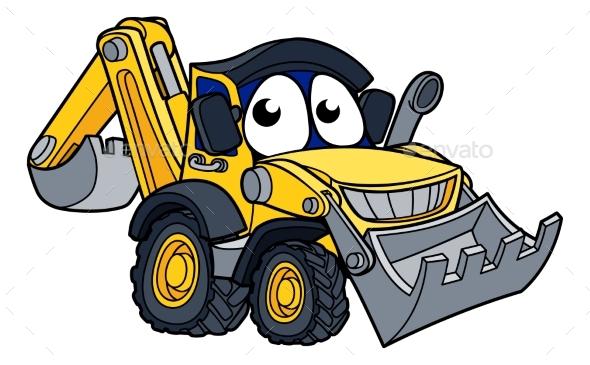 Digger Bulldozer Cartoon Character - Industries Business