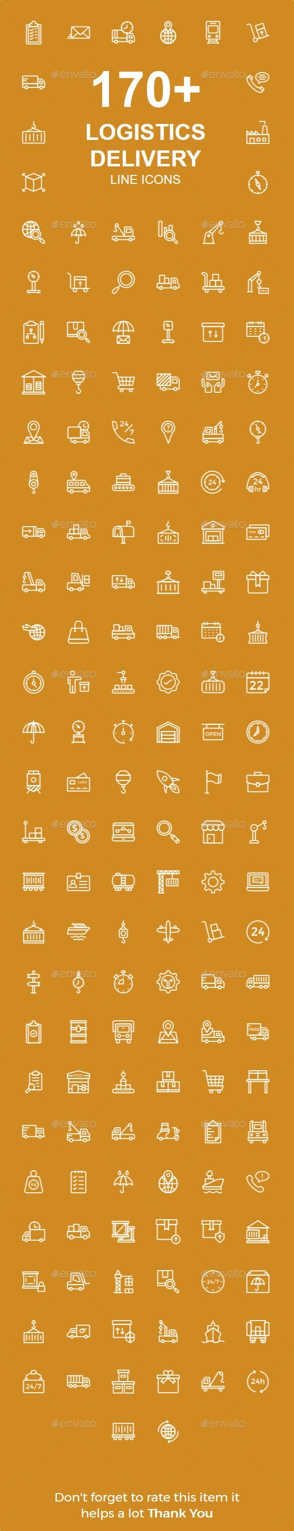 150+ Logistic Delivery line icons - Business Icons