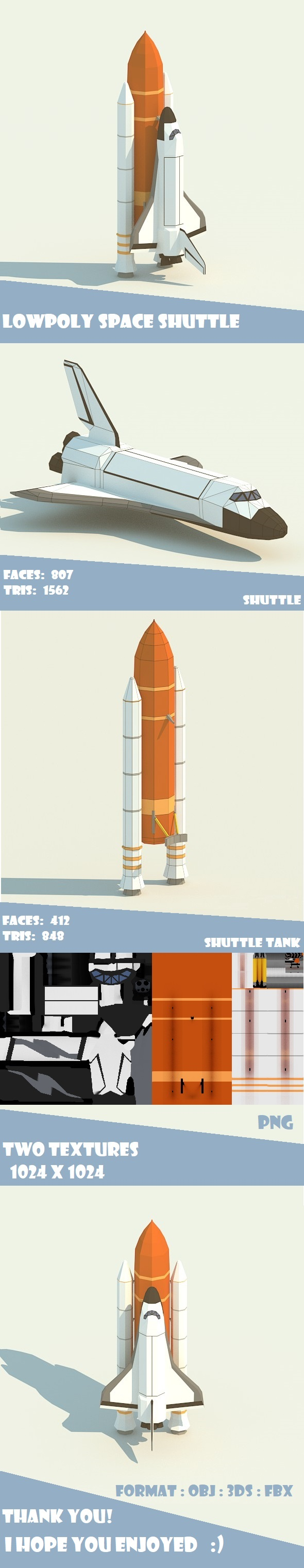 LowPoly Space Shuttle - 3DOcean Item for Sale