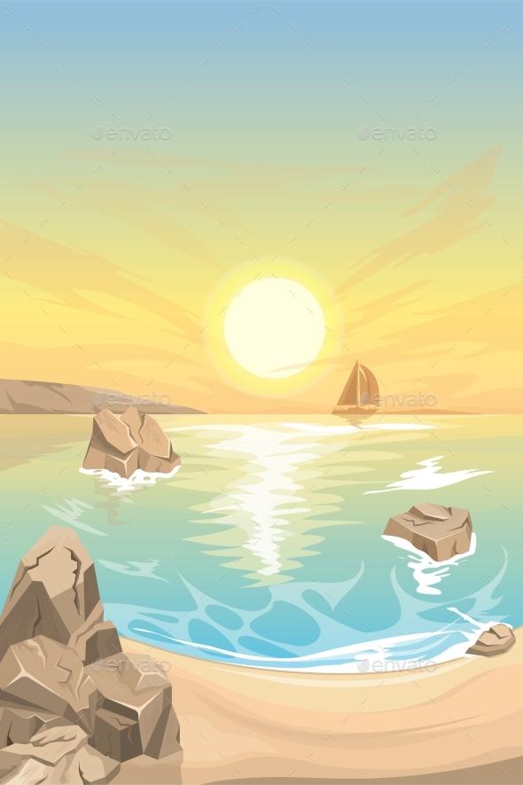 Seascape Sunset. Vector Landscape - Landscapes Nature