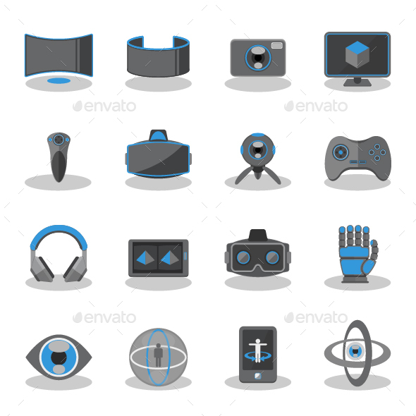 GraphicRiver Flat icons for Virtual Reality 20455719