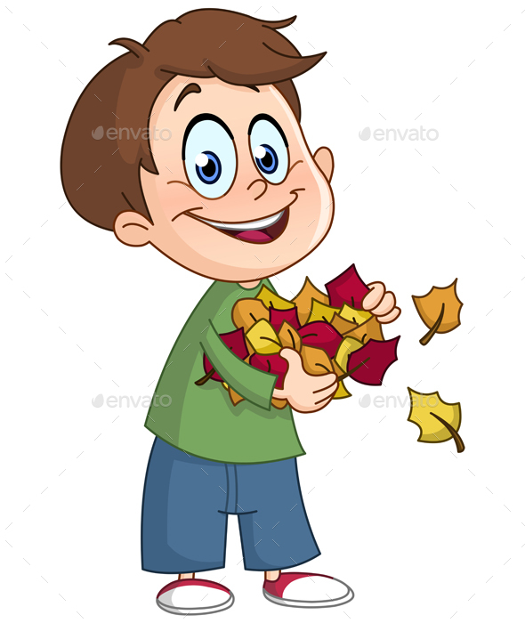 Kid with Autumn Leaves - People Characters
