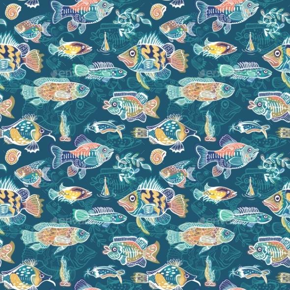 Magic Sea Life Vector Pattern - Animals Characters