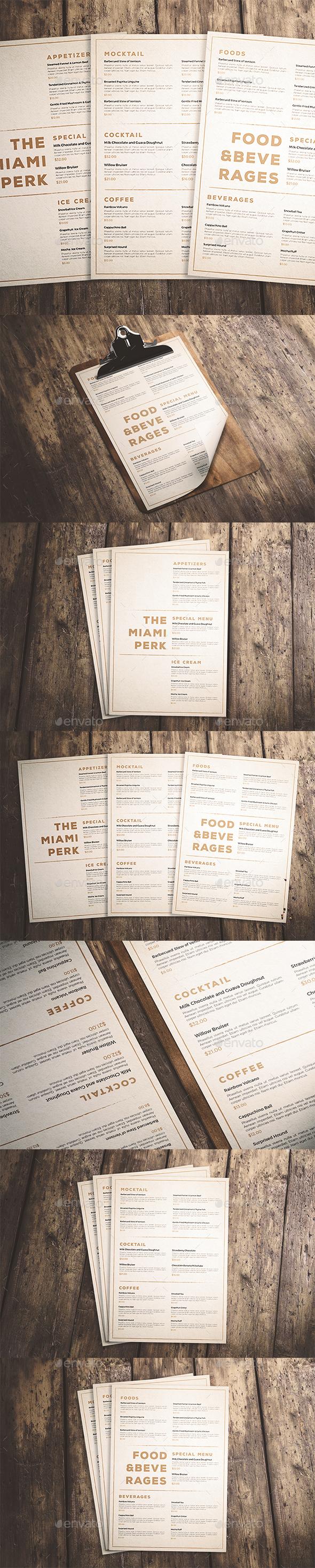 Clean & Classic Menu - Food Menus Print Templates