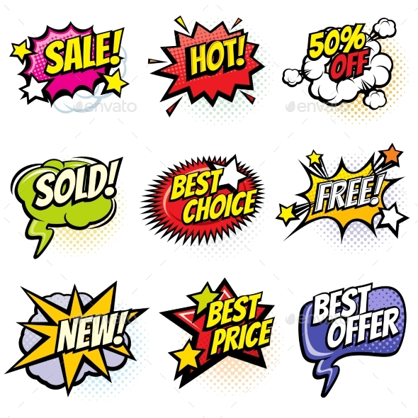 Comic Speech Bubbles with Promo Words. Discount - Web Elements Vectors