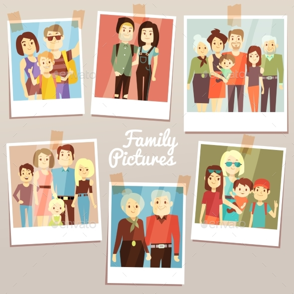 Happy Family Pictures with Different Generations - People Characters