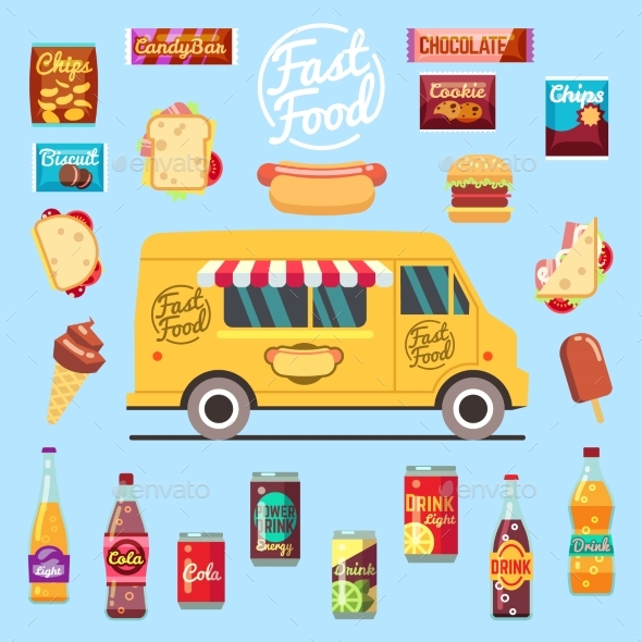 Food Truck with Big Set Summer Meal, Fast Food - Objects Vectors