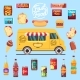 Food Truck with Big Set Summer Meal, Fast Food