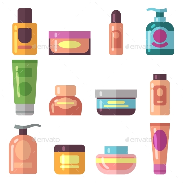 Woman Beauty Cosmetics Product Vector Flat Icons - Objects Vectors