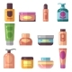 Woman Beauty Cosmetics Product Vector Flat Icons