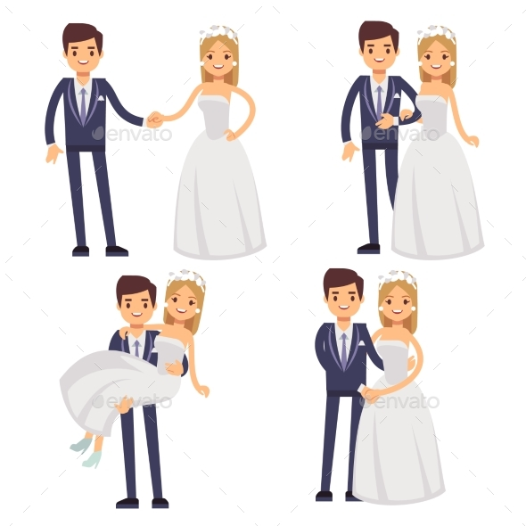 GraphicRiver Cartoon Wedding Couple Just Married Vector 20456177