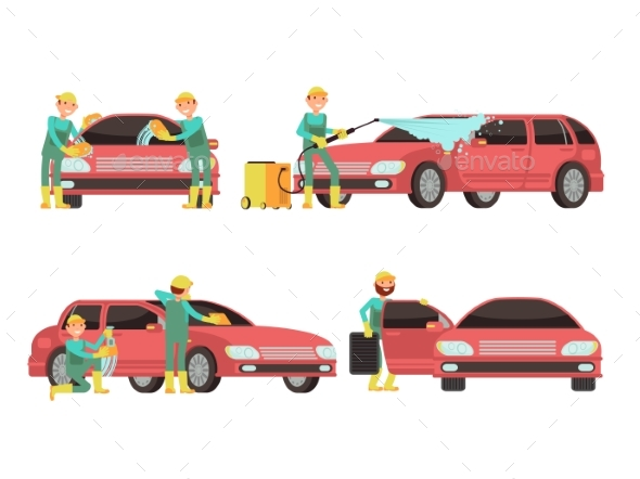 Washing Car Services Vector Concepts with Cars - Objects Vectors