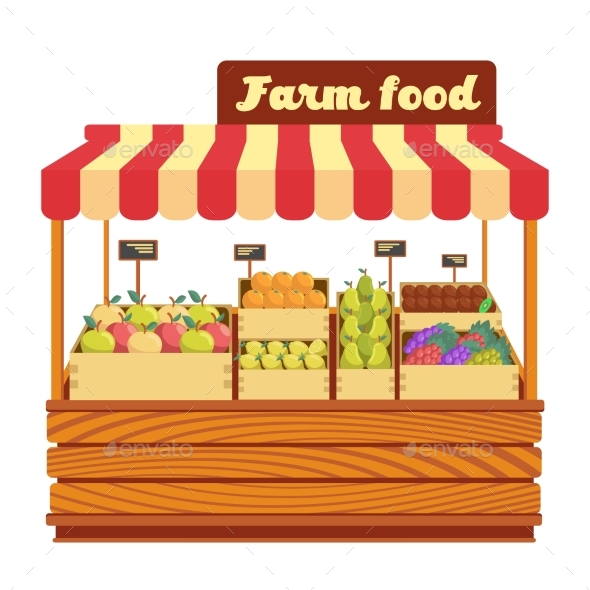 Market Wood Stand with Farm Food and Vegetables - Food Objects