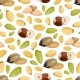 Cartoon Style Nuts Seamless Pattern - Healthy Food