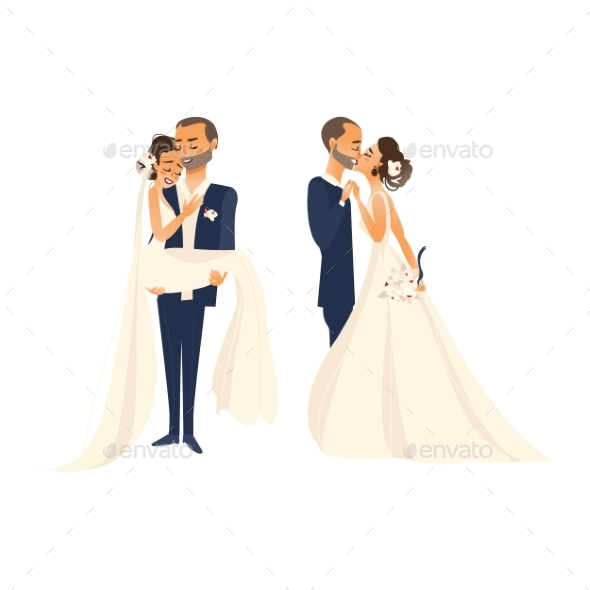 Vector Groom and Pride Character Set Isolated - People Characters