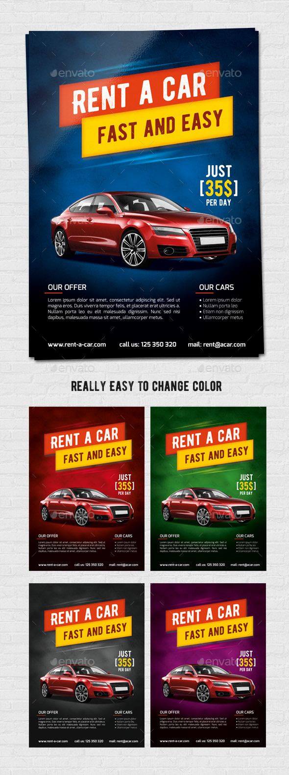 Rent a car flyer A4 - Corporate Business Cards