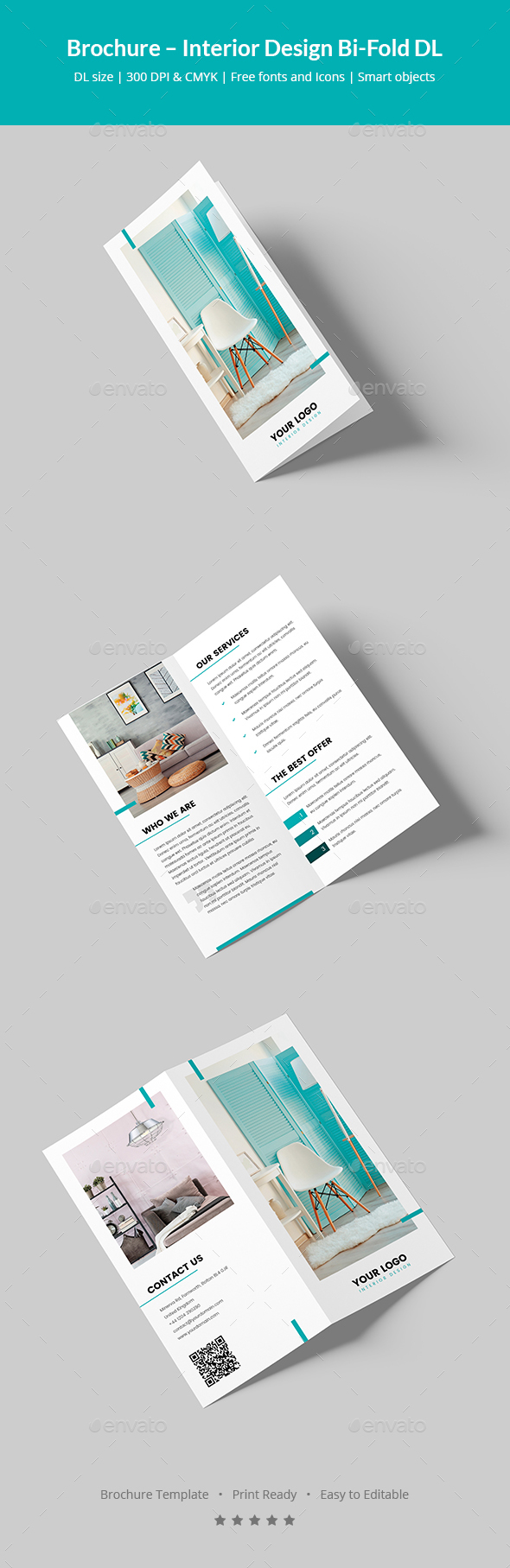 Brochure – Interior Design Bi-Fold DL - Corporate Brochures