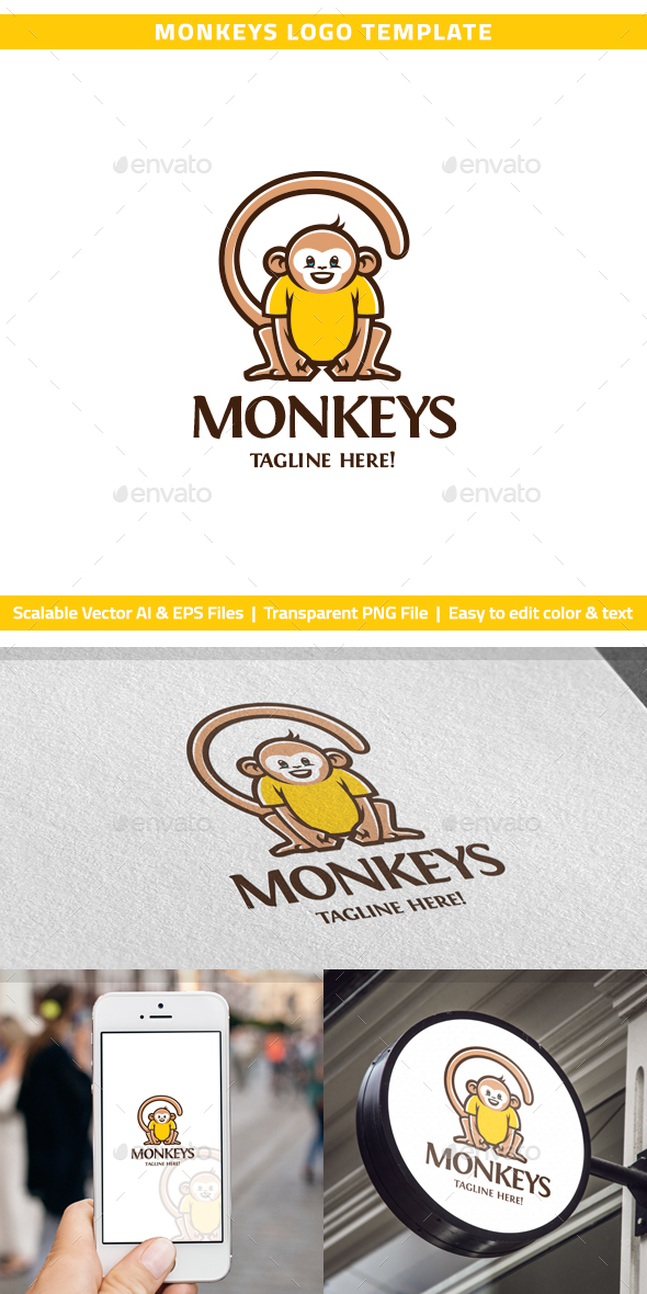 Monkeys Logo - Animals Logo Templates