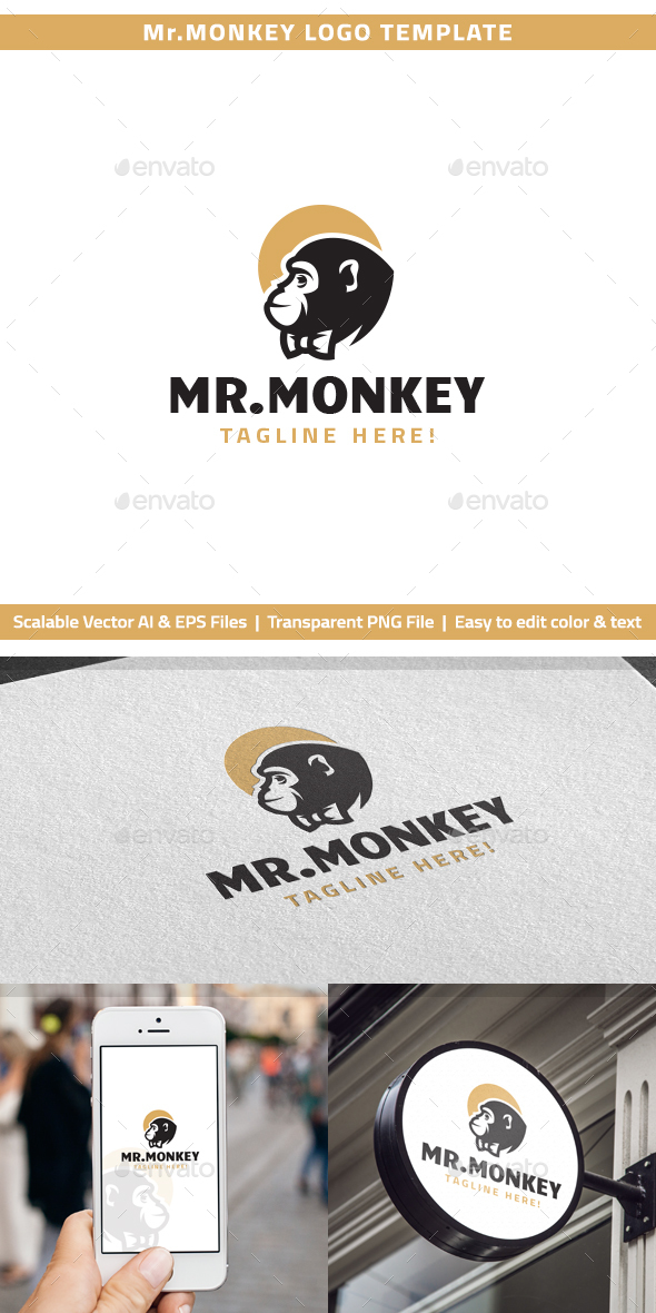 Mr.Monkey Logo - Animals Logo Templates