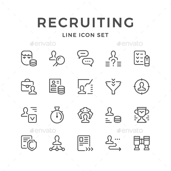 GraphicRiver Set Line Icons of Recruiting 20456419