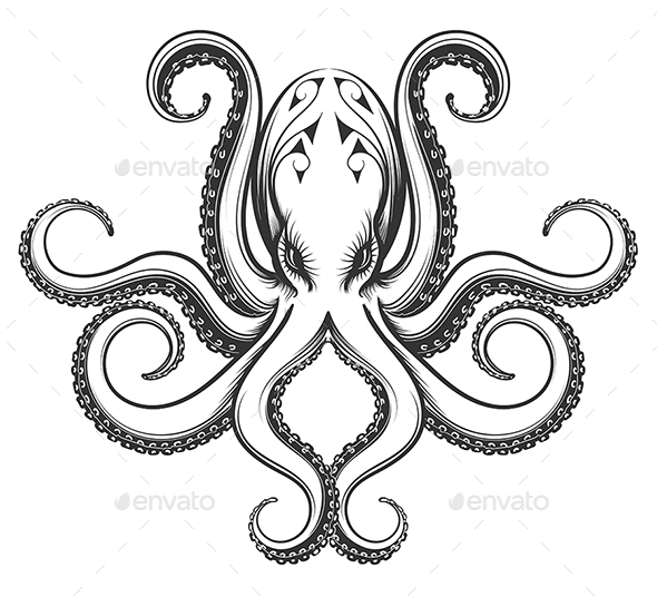 Octopus Engraving Illustration - Tattoos Vectors