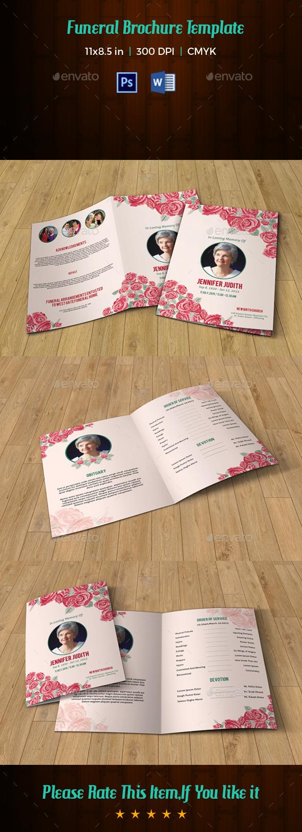 Floral Funeral Template V190 - Informational Brochures