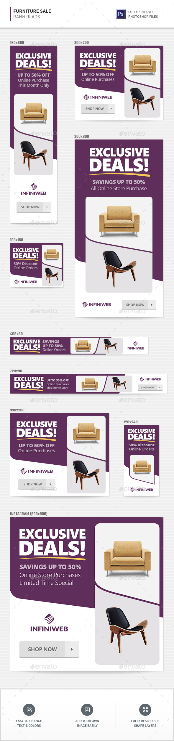 Furniture Sale Banners - Banners & Ads Web Elements