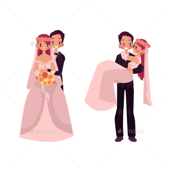 GraphicRiver Vector Groom and Bride Character Set Isolated 20456521