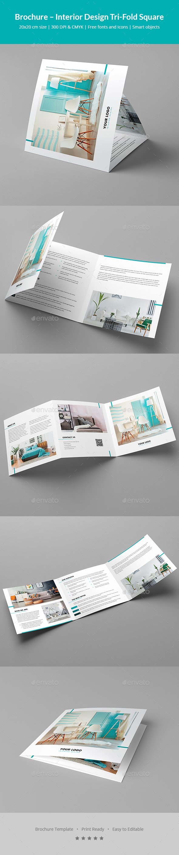 Brochure – Interior Design Tri-Fold Square - Corporate Brochures