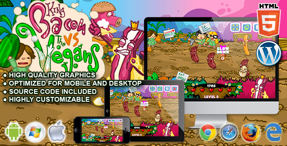King Bacon vs Vegans - HTML5 Arcade Game - CodeCanyon Item for Sale